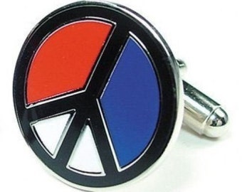 Peace Sign Red White Blue Cufflinks Cuff Links Cuff Links Hippie Cool Gifts Gifts for Dad Husband Gifts for Him