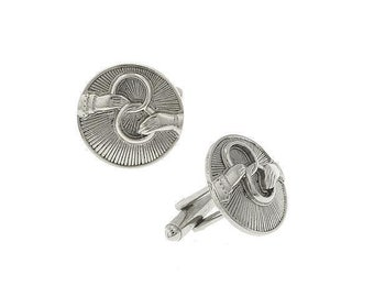 Silver Religious Faith Round Cufflinks Outstretched Hands Holding Interlocking Rings Eternity Cuff Links