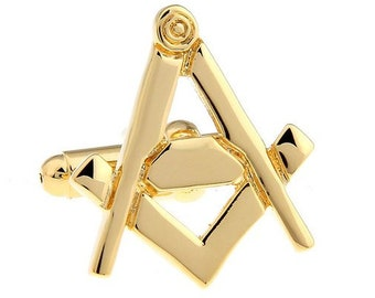 Cufflinks Gold Tone Mason Masonic Freemason Compass and Square Cut Out Cufflinks Cuff Links