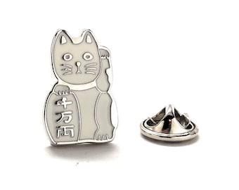 Lucky Cat Enamel Pin, White
