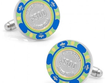 Monte Carlo Blue 500 Dollar Poker Chip Gambler Cufflinks Play The Odds Fun Cuff Links