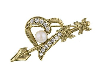 Crystal Heart and Arrow Shape Pin Brooch White Crystals Gold Tone Shot Throught the Heart Wife Gift