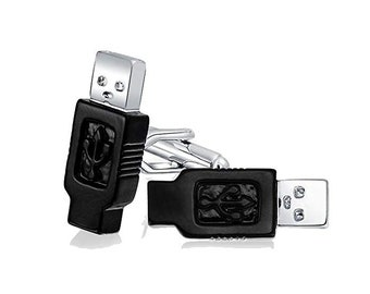 Executive Cufflinks Career Collection Black Enamel Computer USB Computer Connectors Cuff Links White Elephant Gifts