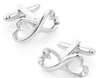 Infinity Heart Knot Cufflinks Symbol Big Silver Solid Post Cuff Links Great for Weddings Groom Father Bride Anniversary Comes with Gift Box