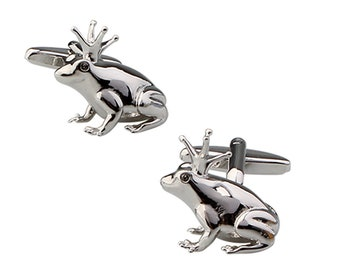 Prince Charming Frog Cufflinks Silver 3D Design Frog Prince Cufflinks Cuff Links Animals Animal
