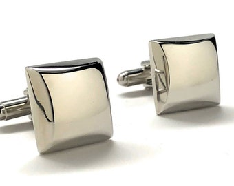 Silver Wedge Cufflinks Silver Thick Shinny Cufflinks Fun Party Cool Classy Cuff Links Comes Gift Box Gifts for Dad Husband Gifts for Him