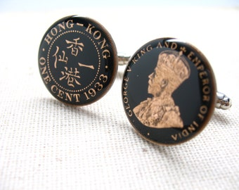 Enamel Cufflinks Hong Kong Coin Hand Painted Enamel Coin Jewelry British China Colony King George Empire Cuff Links Comes with Gift Box