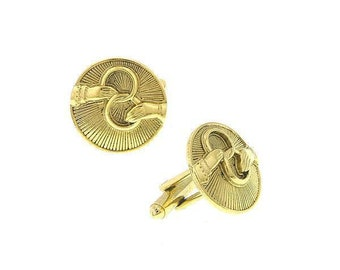 Gold Religious Faith Round Cufflinks Outstretched Hands Holding Interlocking Rings Eternity Cuff Links
