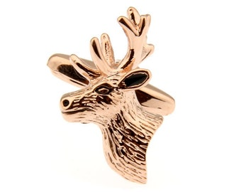 Reindeer Deer Cufflinks Rose Gold Cufflinks Santa Christmas Rudolph Red Nosed holiday Cuff Links Comes with Gift Box