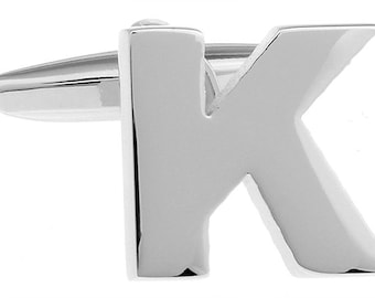 K Initial Cufflinks Silver 3-D Letter Block K English Letters Cuff Links Groom Father of the Bride Wedding Father's Day Gift Box