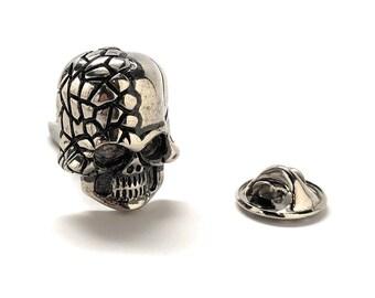 Enamel Pin Skull & Cross Bones Lapel Pin Silver Treasure Island Tie Tack Halloween Skull Nightmares Silver Tie Pins 10 Designs to Choose