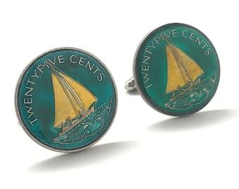 Birth Year Birth Year Enamel Cufflinks Bahamas sailboat 25 cent coins Hand Painted Enamel Coin Jewelry Cuff Links Enameled Coin Cufflinks