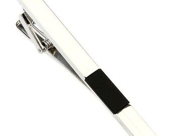 Black Block Inlay Silver Men Tie Clip Classic Mens Tie Clip Tie Bar Silver Tone Very Cool Comes with Gift Box
