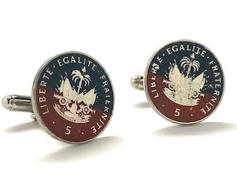 Enamel Cufflinks Painted Haiti Enamel Coin Jewelry Haitian Creole Boutons de manchette bijoux Port-au-Prince Bijou Ayiti Carrefour Delmas