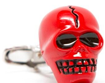 Devil Head Cufflinks Red 3D Skull Cuff Links