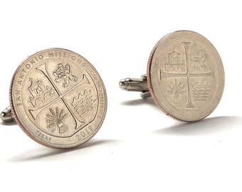 Birth Year Cufflinks US Mint San Antonio Mission Texas State Quarter Authentic US Enamel Back Coin Jewelry Unique Gift Comes with Gift Box B
