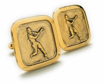 Antique Gold Tone Baseball Cufflinks Home Run Hitter Sport Champions Cuff Links Comes with Gift Box