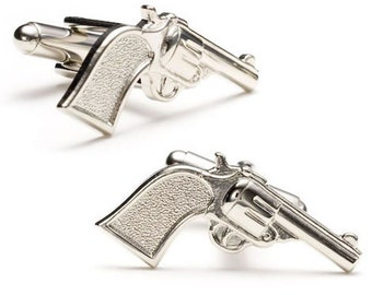 Silver Old West Cowboy Cufflinks Six Shooter Pistol Gun Out Law Cufflinks Cuff links