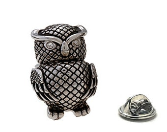 Wise Old Owl Lapel Pin, Pewter