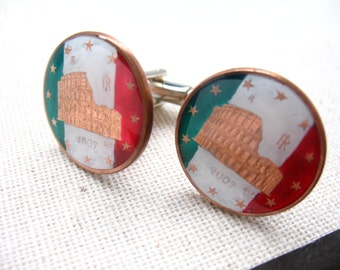 Enamel Cufflinks Italy Colosseum Rome Green Red White Hand Painted Enamel Coin Jewelry Cuff Links Milan Gift Box World Travels Unique