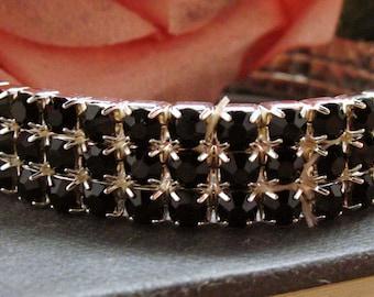 Black Stretch Bracelet Sparkling Crystales Silver Toned Tennis Bracelet