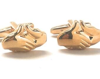 Handshake Hands Cufflinks, Gold Mason