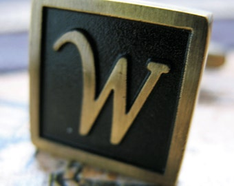 W Initial Cufflinks Antique Brass Square 3-D Letter Vintage English Lettering Cuff Links Groom Father Bride Wedding Anniversary Gift Box