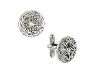 Vintage Inspired Crystal Round Cufflinks Scrolled Accents Dress Formal French Cuff Cuff Links