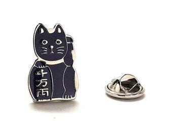 Lucky Cat Enamel Pin, Purple