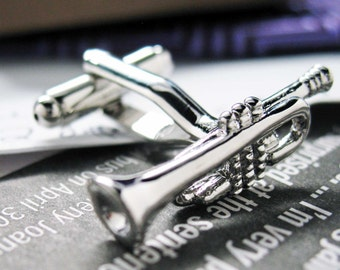 Silver Trumpet Cufflinks Band Fans Trumpet Music Players Conductors Silver Toned Cuff Links