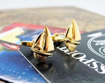 Sailboat Boat Cufflinks Gold Tone Sailing Ocean Cuff Links
