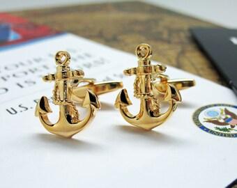 Anchor Cufflink Gold Tone Shiny Cut Out Sailor Ship Crew Cuff Links
