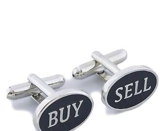 Buy Sell Black Cufflinks Oval Silver Tone Cuff links Men's Cufflinks Cool Guy Gifts Financial Cufflinks