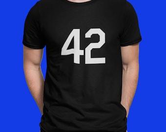 Baseball Tee Shirt Unisex Cotton T Shirt Black White Number Forty Two Honoring Baseball's Barrier Breaker Baseball T Shirt 42