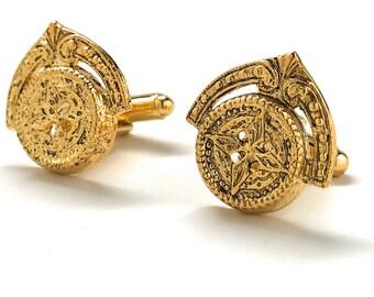 Gold Cufflinks Persian Starlight Crown Cufflinks Gold Tone Compass Map Key to the City Cuff Links