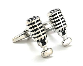 Retro Radio Announcer Cufflinks Old School Vintage Microphone Broadcasting Music Show DJ Cuff Links Comes with Gift Box