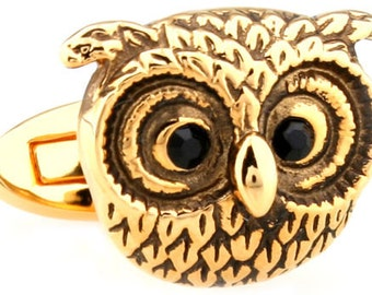 Gold Owl Cufflinks Gold Hand Crafted Owl Black Swarovski Eyes Cuff Links Harry Potter Hogwarts Gryffindor Slytherin Ravenclaw Hufflepuff
