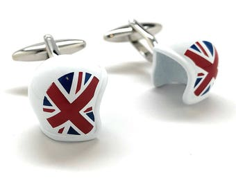 British Motorcycle Helmet Cufflinks Union Jack Flag 3D Britain UK Fun Cool Unique Cuff Links Comes with Box