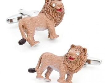 3D Enamel Lion with Crystals Eyes Cufflinks Cuff Links Animal Custom Cufflinks