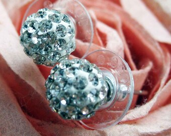 Sparkling Ball Stud Earrings White Crystals Avaliable Silk Road Collection Jewelry