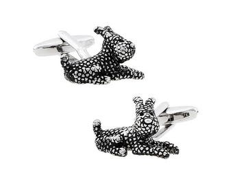 Lucky Happy Dog Cuff Links 3-D Pewter Antique Tone Cufflinks