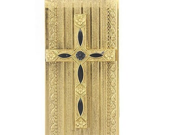Cross Money Clip Gold Faith Black Cross Men's Money Holder Unique Gift