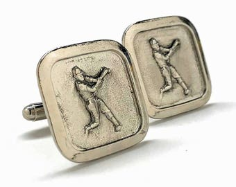Antique Silver Tone Baseball Cufflinks Home Run Hitter Ballpark Cuff Links Comes with