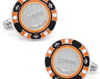 Monte Carlo Orange and Black 100 Dollar Poker Chip Gambler Cufflinks Play The Odds Fun Cuff Links