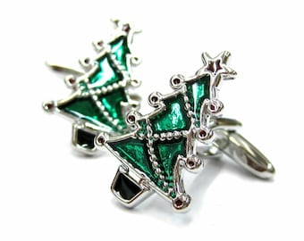 Classic Christmas Trees Cufflinks Forest Green Trees Winter Holidays Party Cufflinks Cuff Links