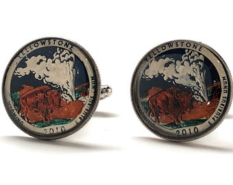Yellowstone Quarters Cufflinks, Hand Painted