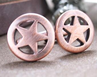 Lonestar Cufflinks Deputy Sheriff Bronze Tone Vintage Lone Star Cuff Links