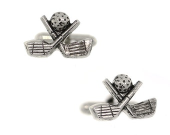 Golf Cufflinks Silver Tone Master Of The Game Golf Clubs And Ball Cuff Links Cufflinks