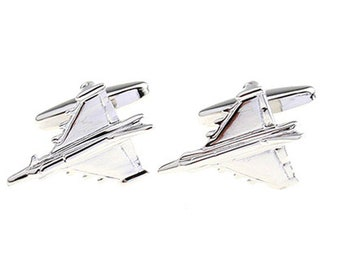 Silver Military Jet Fighter Airplane Cufflinks Airliner Flight Pilot Aviator Silver Tone Airplane Cuff Links Gifts for Him Captain