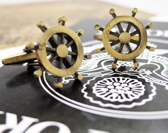 Steering Wheel Cufflinks Vintage Gold Tone Antique Look Cut Out Ship Cuff Links